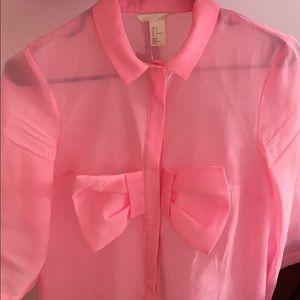 H&M Tunic dress shirt sheer size 2
